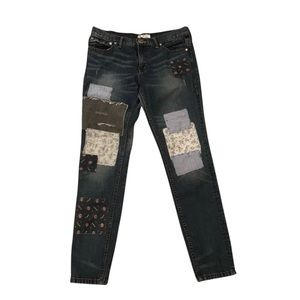 Free People Patchwork Distressed Jeans